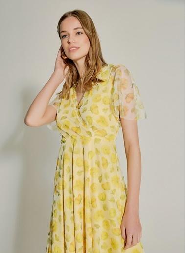 NGSTYLE Çiçek Desenli Tül Elbise Sarı